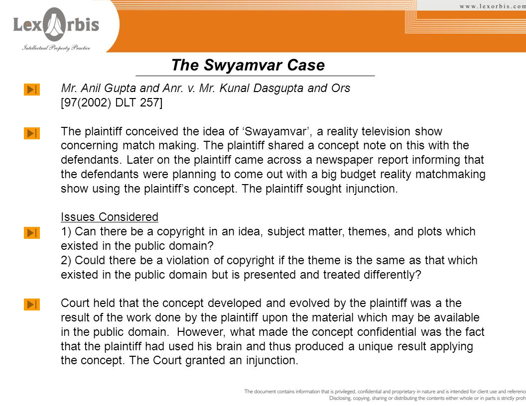 The Swyamvar Case Mr. Anil Gupta and Anr. v. Mr. Kunal Dasgupta and Ors. [97(2002) DLT 257]